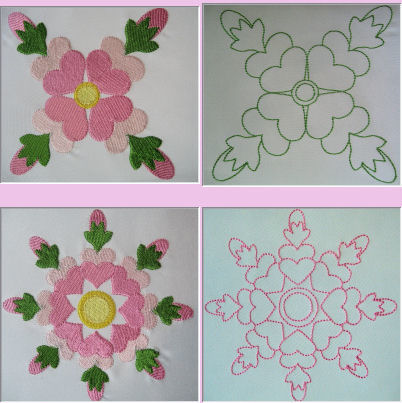 Rose of Sharon Quilt Block Set