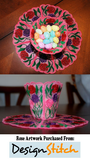 FSL Rose Bowl & Doily Set