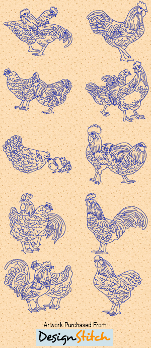 Realistic Bluework Roosters & Hens 03